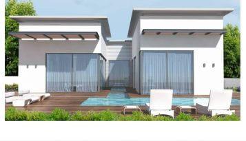 אדריכלות ועיצוב פנים מושלמים במושב מול הים צבע לבן